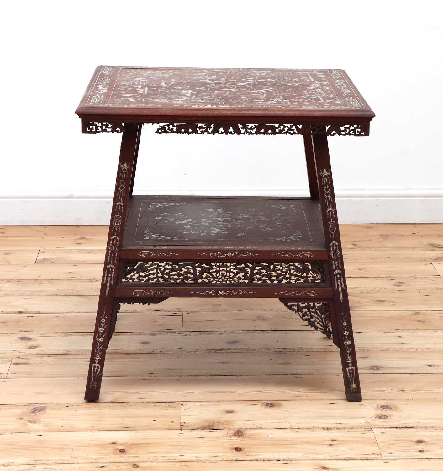 A Chinese hardwood and ivory inlaid occasional table, - Image 4 of 10