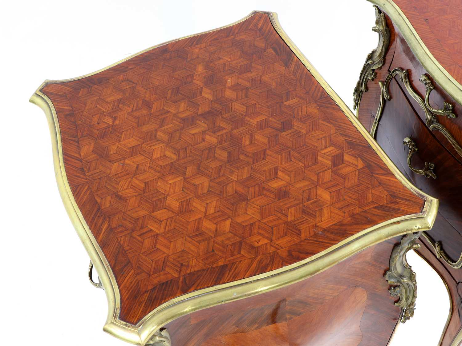 A pair of French Louis XV-style kingwood and ormolu night tables, - Image 6 of 9