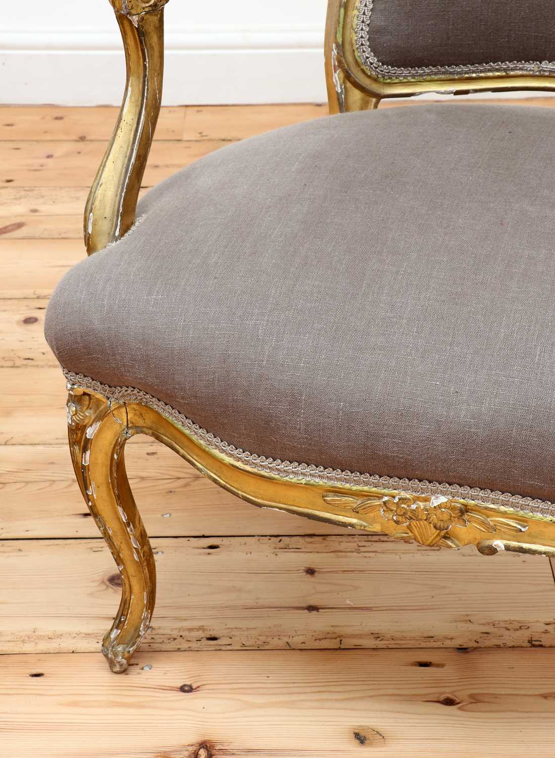 A pair of gilt-framed Louis XV-style armchairs, - Image 7 of 8