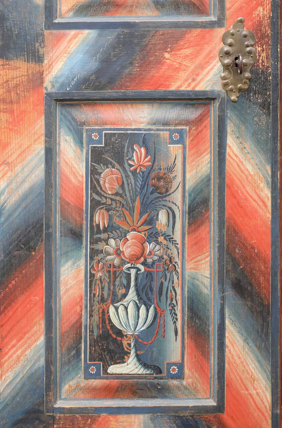 A Northern European painted pine armoire, - Image 5 of 10