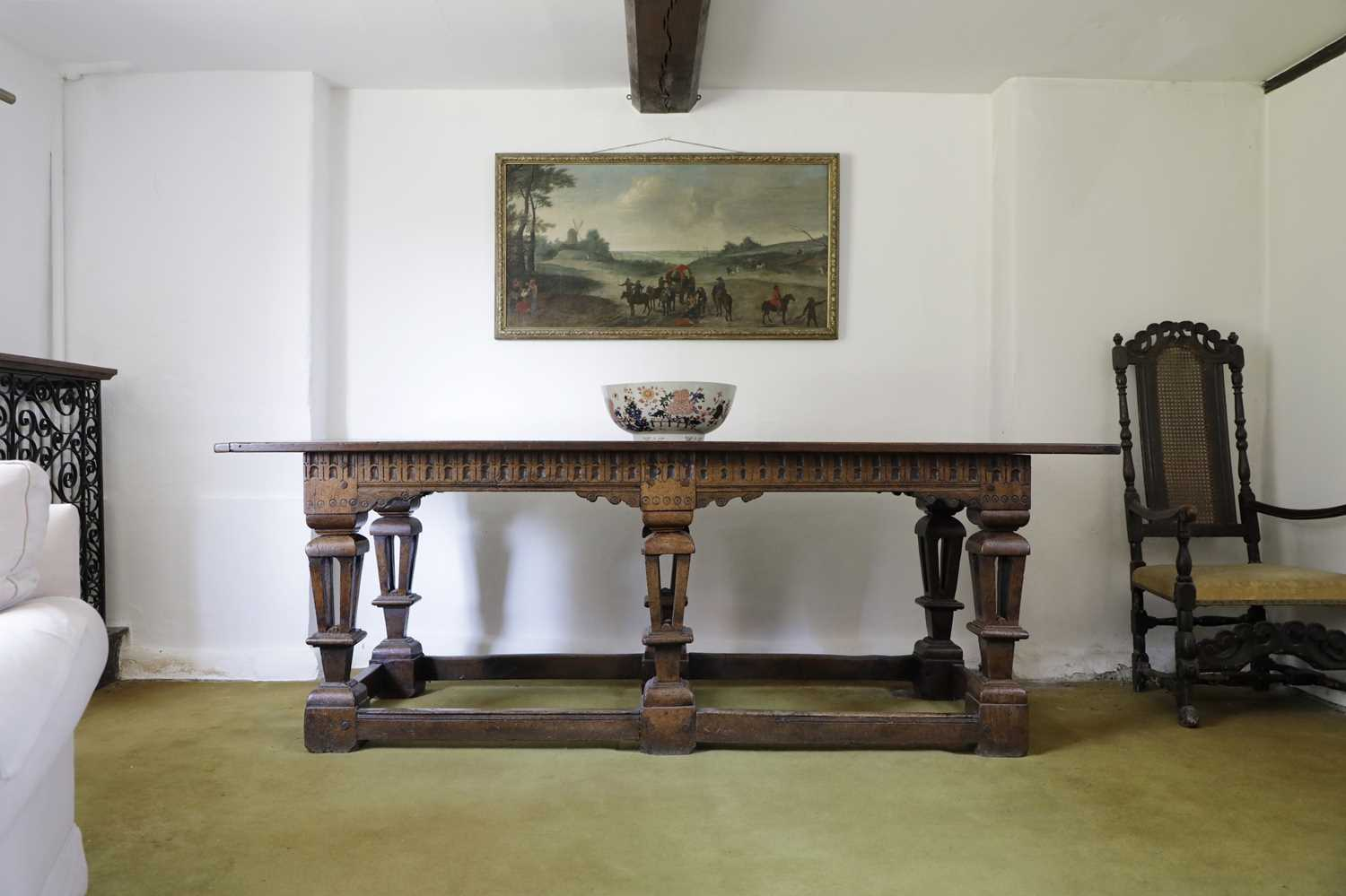 A Jacobean style oak refectory table, - Image 2 of 8