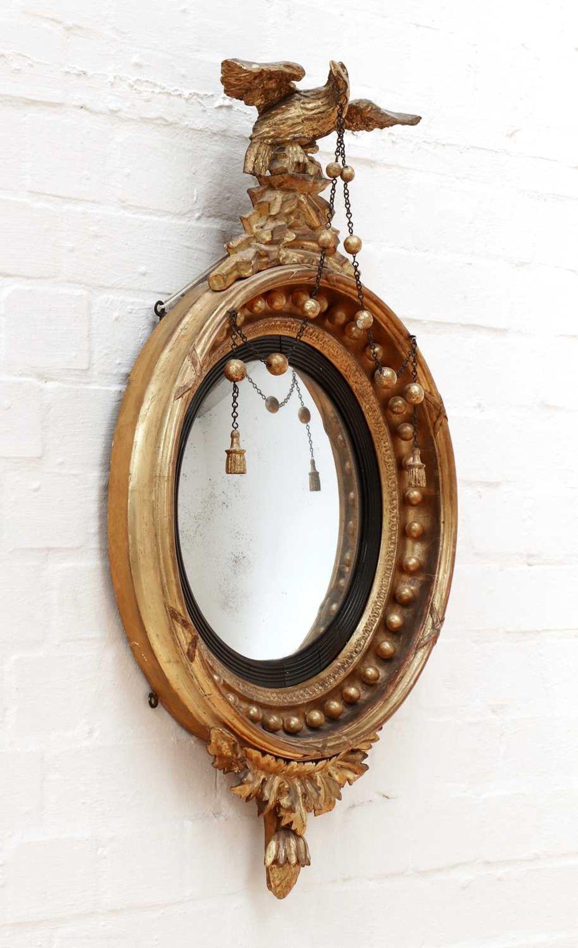 A Regency giltwood convex mirror, - Image 2 of 3