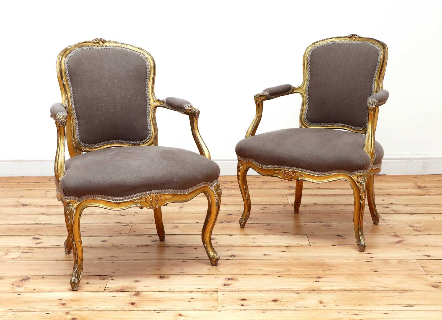 A pair of gilt-framed Louis XV-style armchairs, - Image 2 of 8