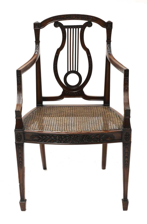 A set of six mahogany Sheraton Revival dining armchairs, - Image 3 of 6