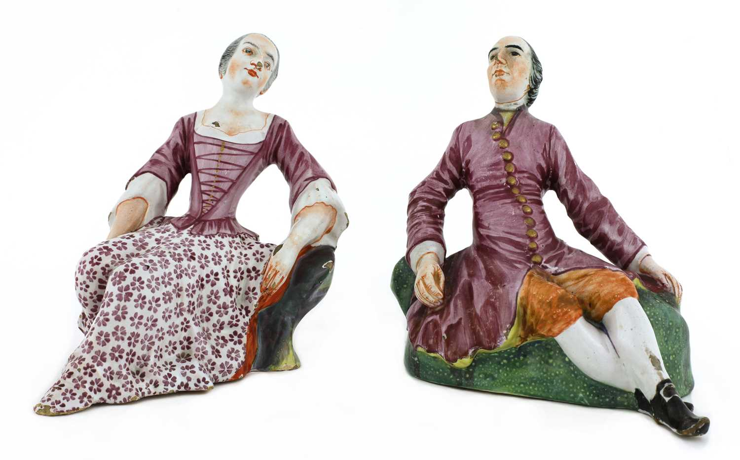 A pair of Niderviller faience figures,
