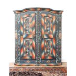 A Northern European painted pine armoire,