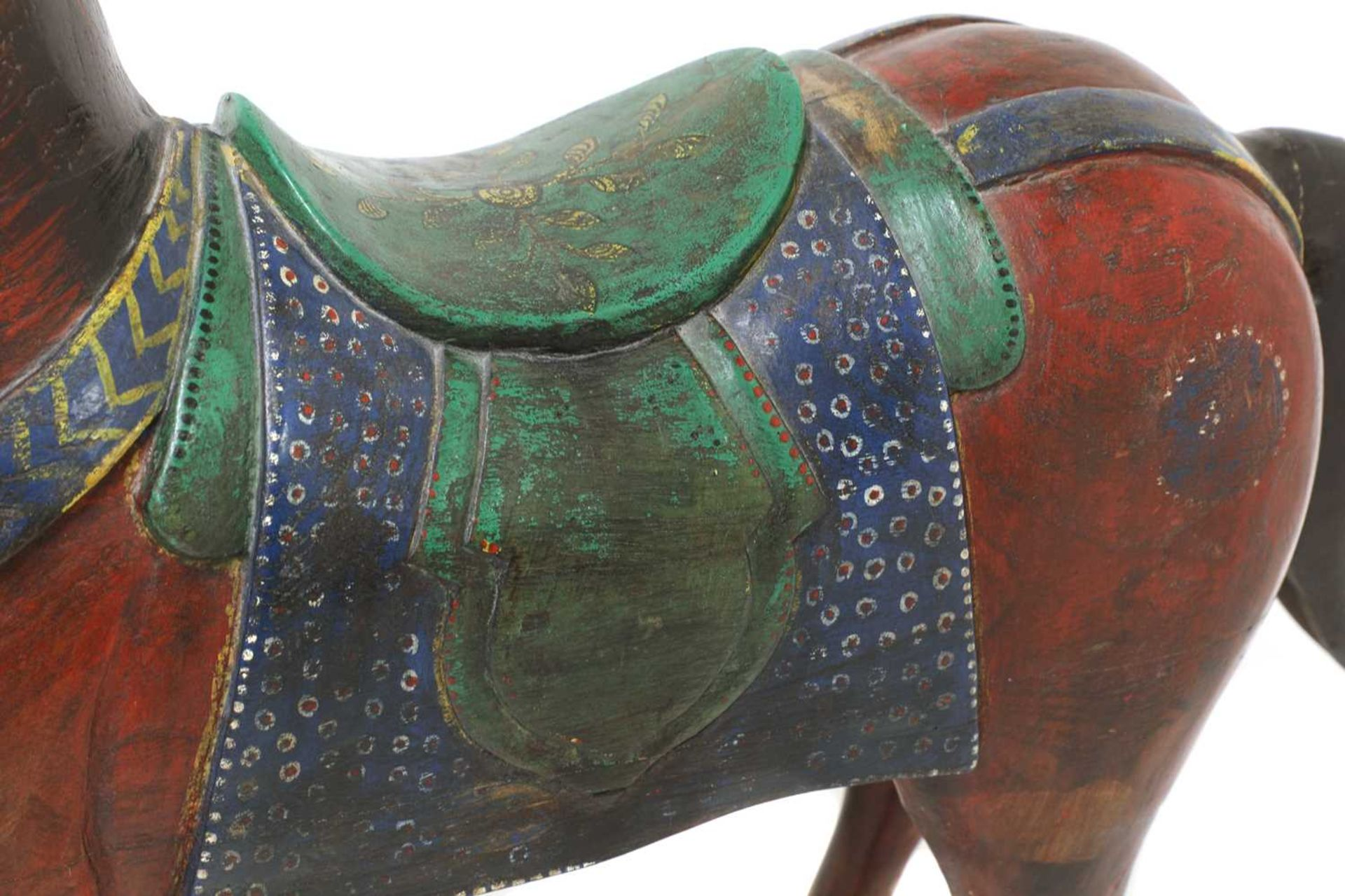 An Indian polychrome painted wooden horse, - Image 5 of 7