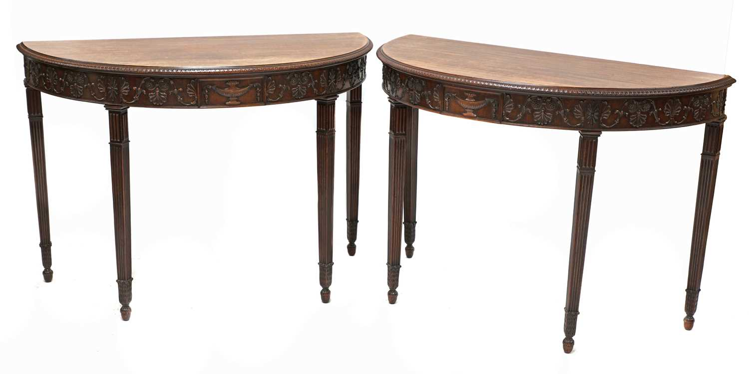 A pair of Adam Revival mahogany demilune console tables,