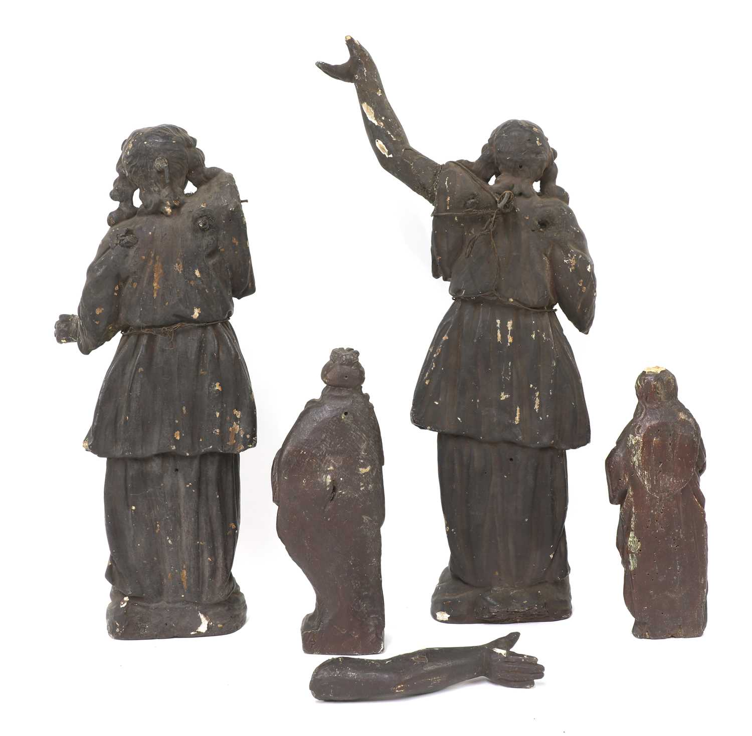 A pair of early carved wooden angels, - Image 2 of 2