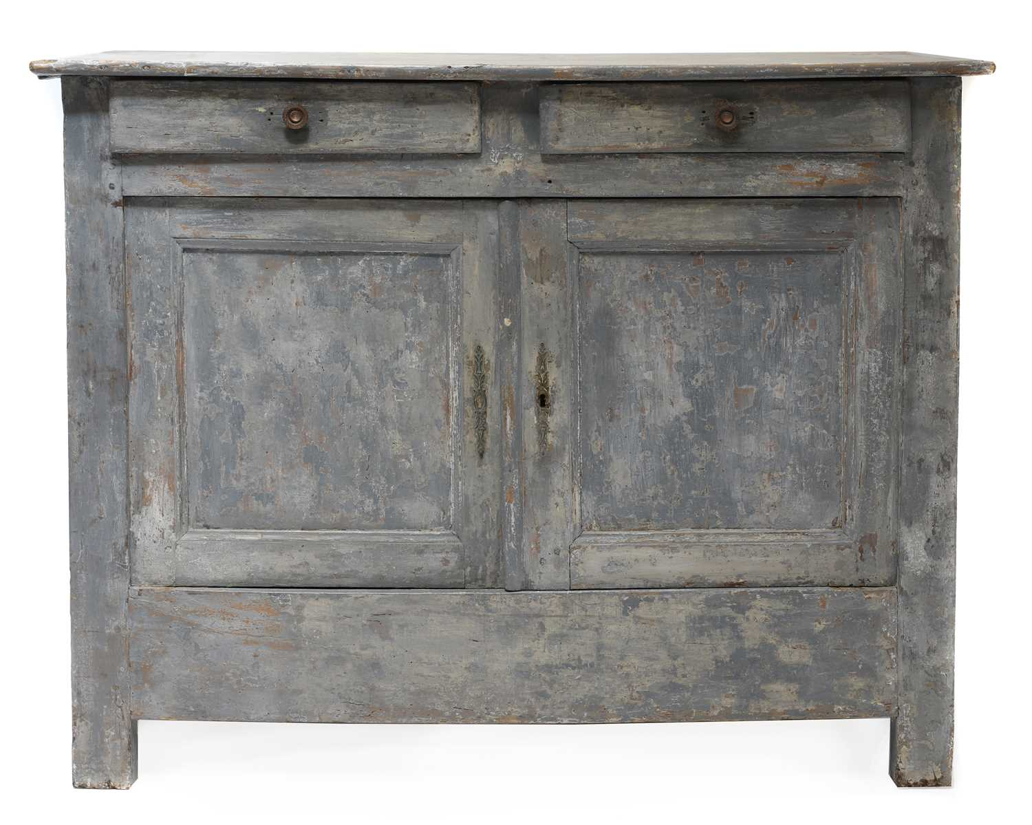 A French grey-painted cupboard,
