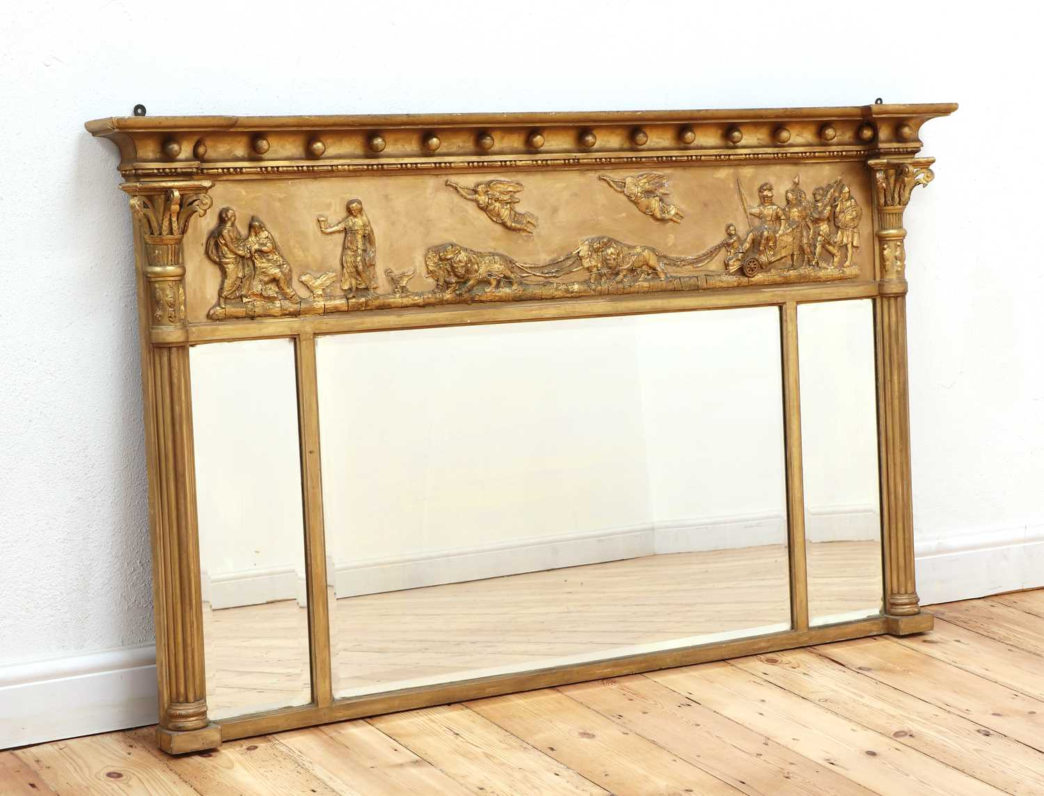 A Regency-style gilt overmantel mirror, - Image 2 of 4