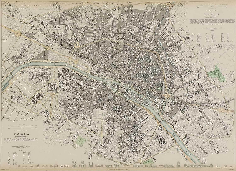 A set of four old maps of Paris, the Environs of Paris, Bordeaux and Toulon,