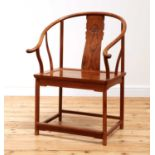 A Chinese rosewood horseshoe back chair