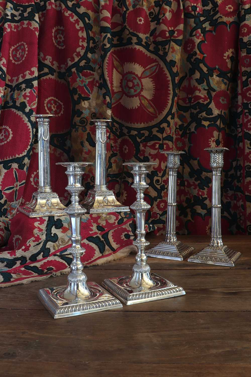 A pair of Edwardian silver-plated neoclassical candlesticks, - Image 5 of 5