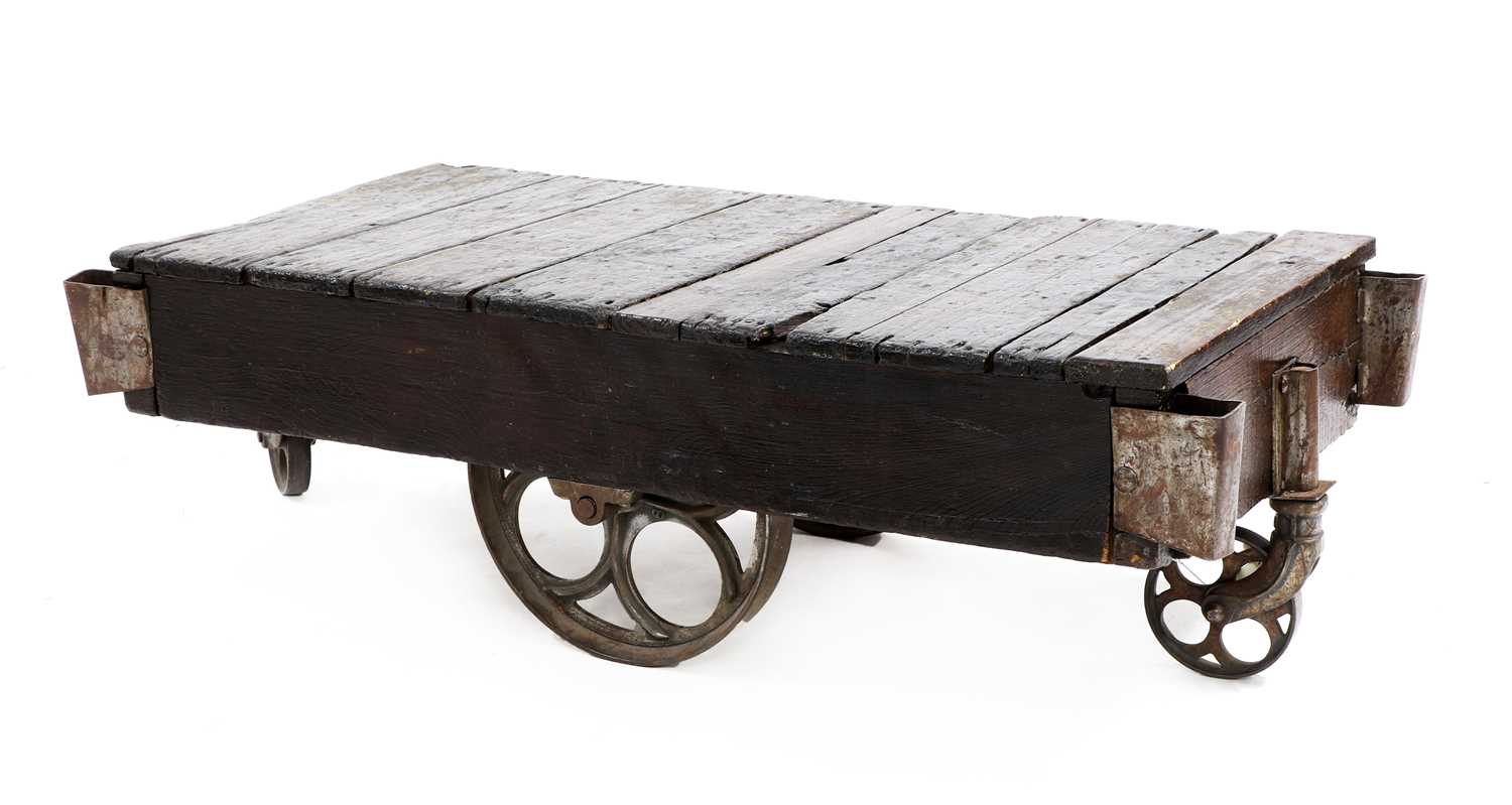 An industrial low coffee table,