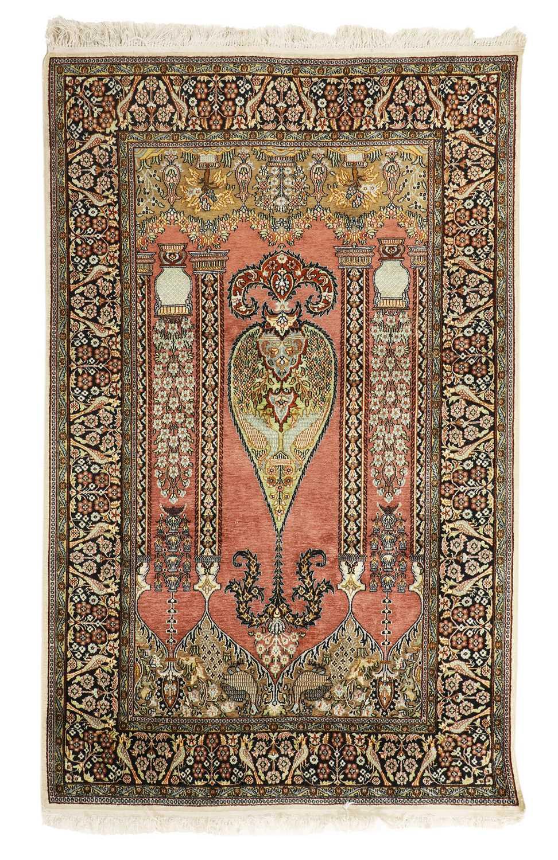 A Persian wool and silk prayer rug,