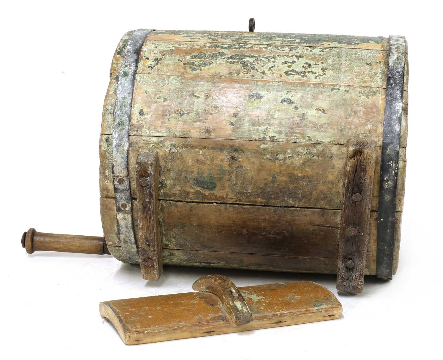 A Norwegian polychrome butter churn, - Image 5 of 9