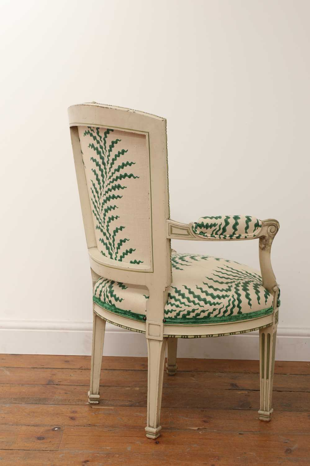A French Louis XVI-style painted fauteuil, - Image 3 of 7