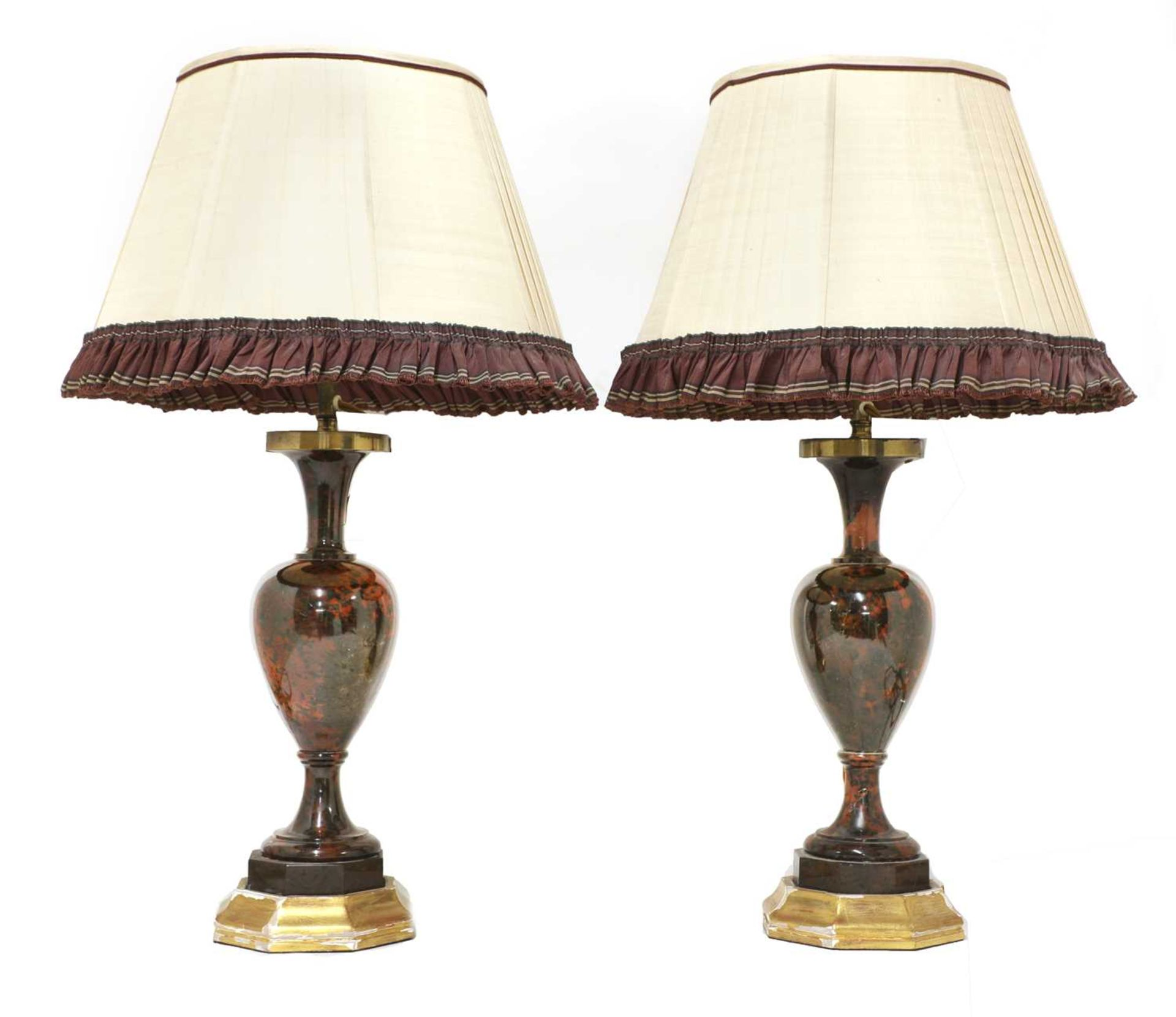 A pair of polished hardstone table lamps, - Image 2 of 3