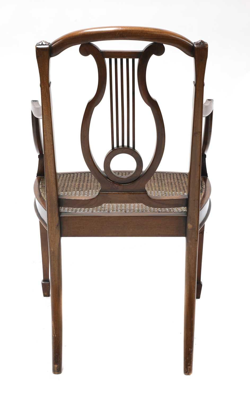 A set of six mahogany Sheraton Revival dining armchairs, - Image 5 of 6