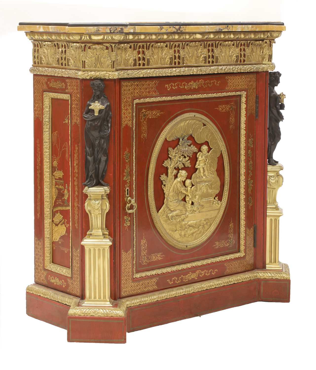 A red-lacquered and ormolu-mounted pier cabinet, - Image 2 of 16