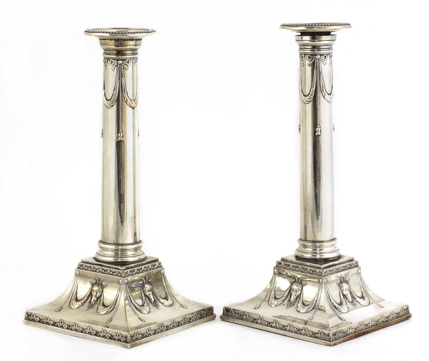 A pair of Edwardian silver-plated neoclassical candlesticks, - Image 2 of 5
