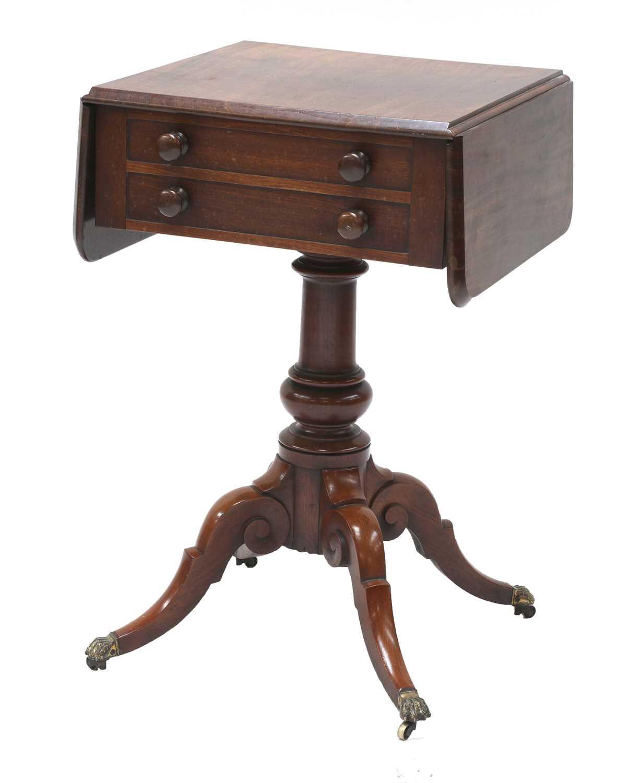 A Victorian mahogany worktable,