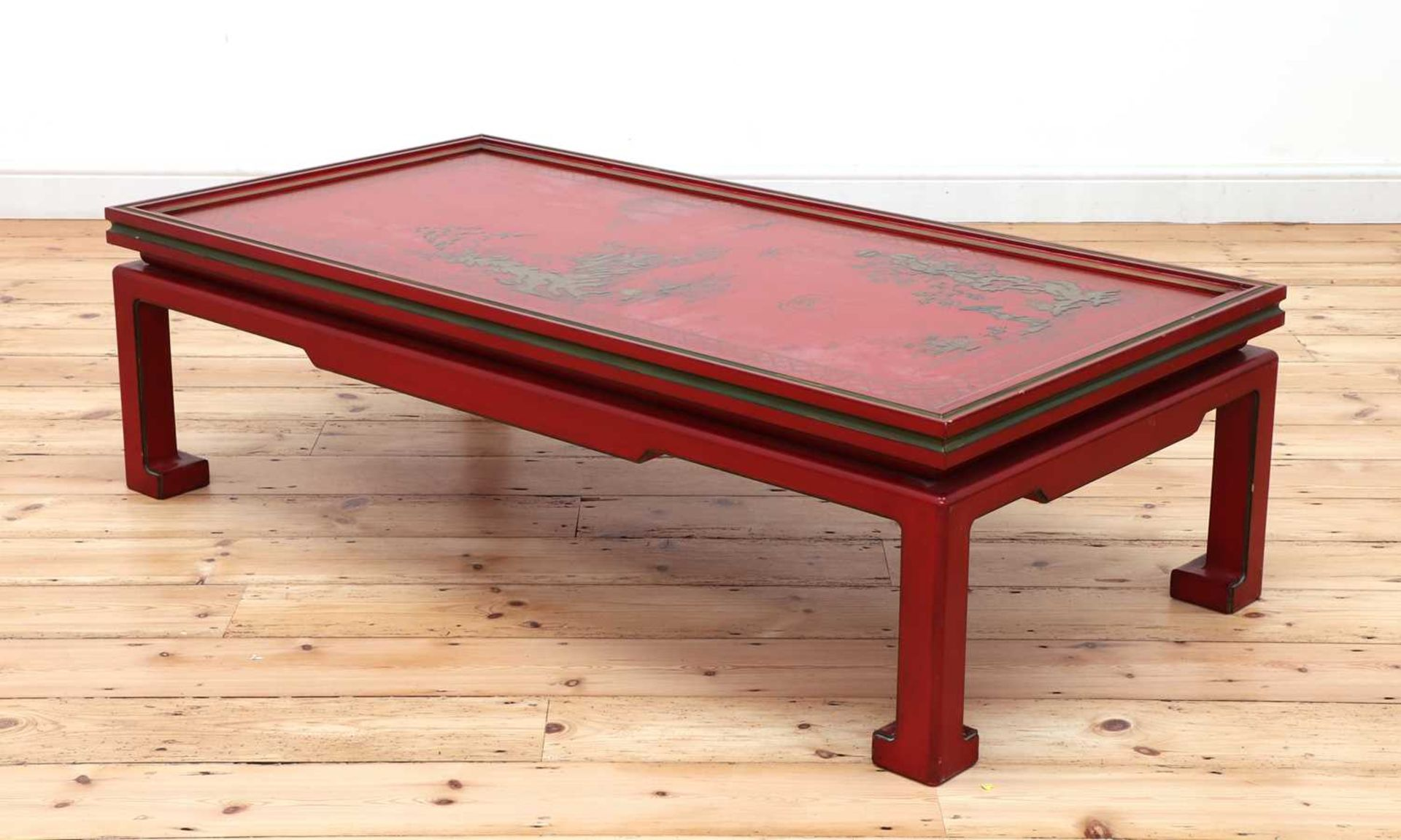 A Chinese-style red-lacquered coffee table in the manner of Mallett & Sons, - Image 3 of 9