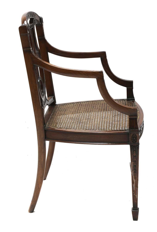 A set of six mahogany Sheraton Revival dining armchairs, - Image 6 of 6