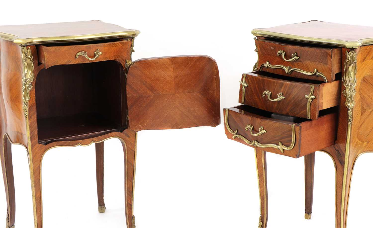 A pair of French Louis XV-style kingwood and ormolu night tables, - Image 7 of 9