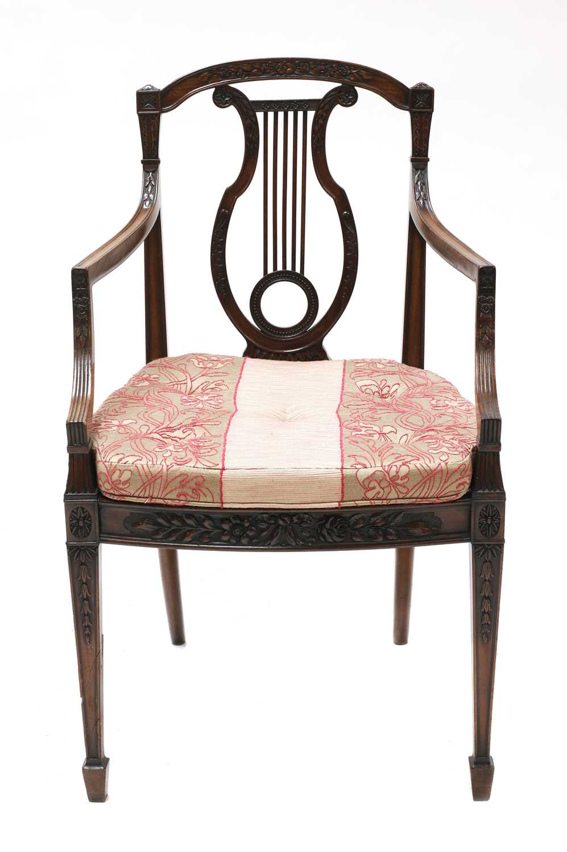 A set of six mahogany Sheraton Revival dining armchairs, - Image 2 of 6