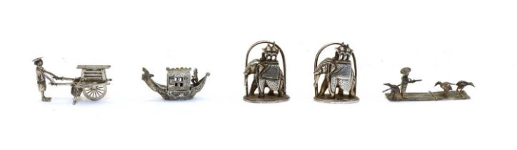 A small late 19th century Chinese silver model of an oriental,
