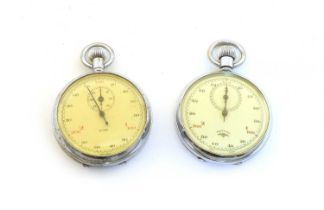 Two chrome-plated stopwatches,
