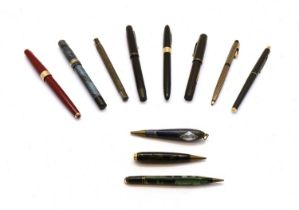 A collection of pens,