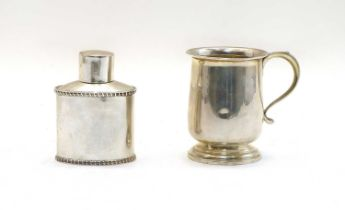 A silver mug,