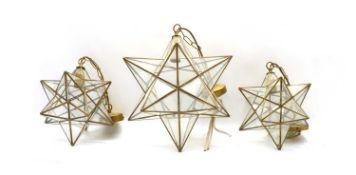 A brass and glass star lantern,