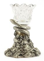 A silver plated and cut glass posy vase,