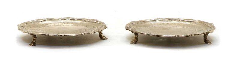 A pair of Irish silver waiters,