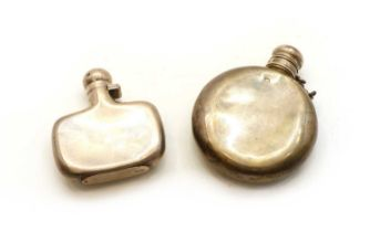 A silver hip flask,