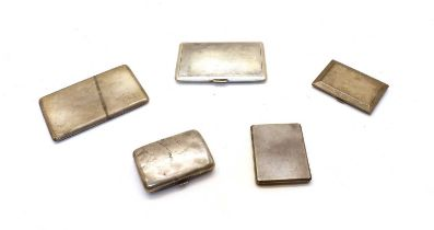 A collection of five silver cigarette cases,