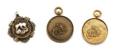 An Enfield Motor Cycling Club 9 carat gold pendant,