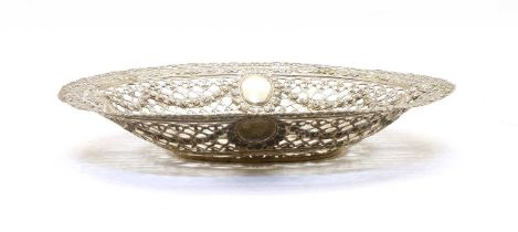 A German silver basket, with pierced, pressed and repousse decoration