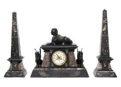 An Egyptian Revival marble and slate mantel clock garniture,