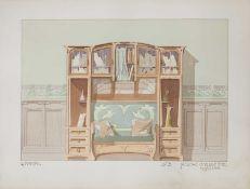 A set of five French Art Nouveau pochoir prints,