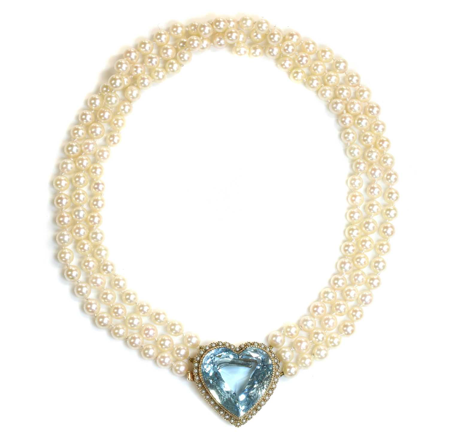 A three row cultured pearl necklace, - Image 3 of 7