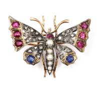 A split pearl ruby, sapphire and diamond butterfly brooch, c.1900,