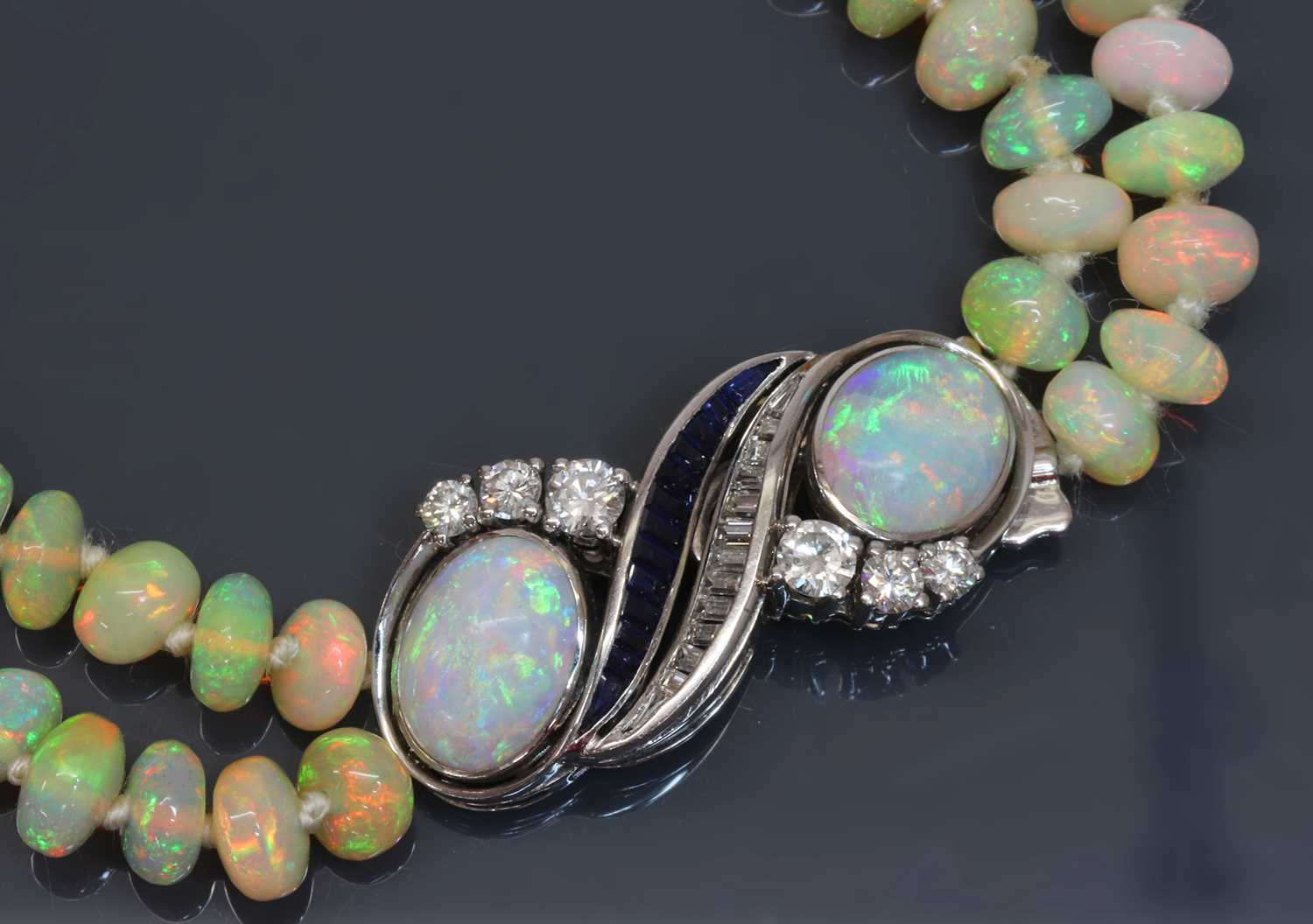A two row graduated opal bead necklace, - Image 3 of 5