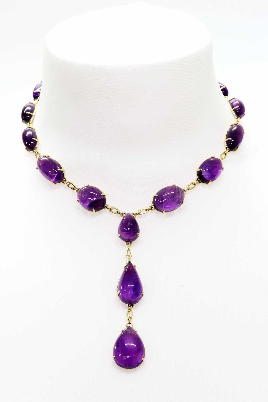 An amethyst 'Y' necklace,