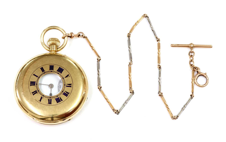 An 18ct gold side wide half hunter pocket watch, - Image 4 of 4