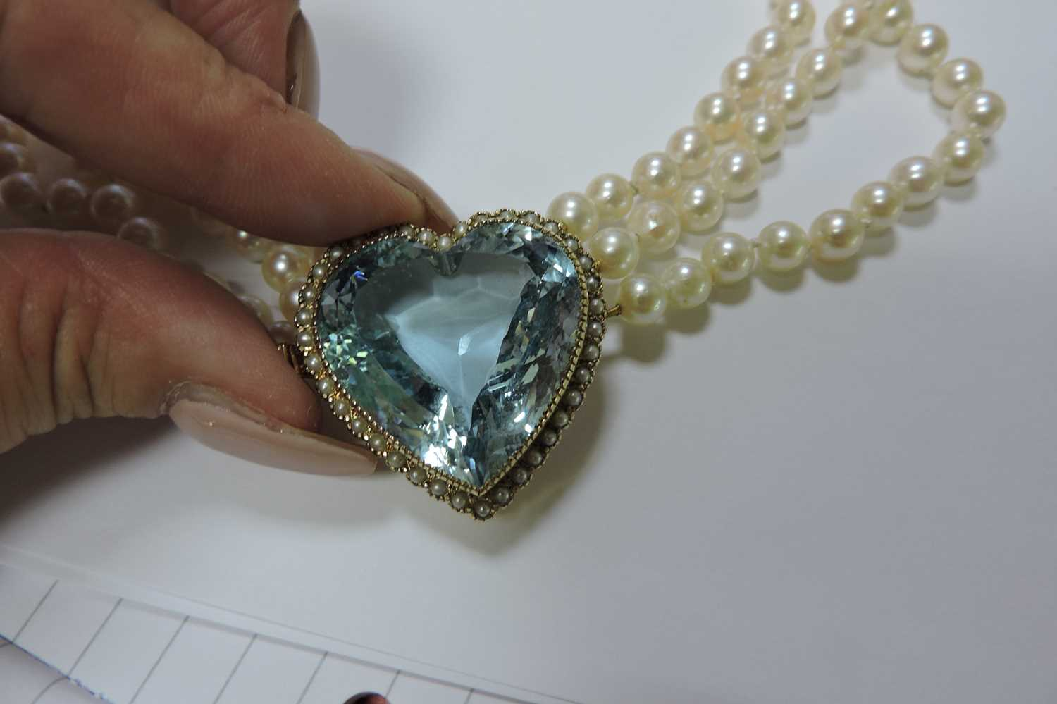 A three row cultured pearl necklace, - Image 7 of 7